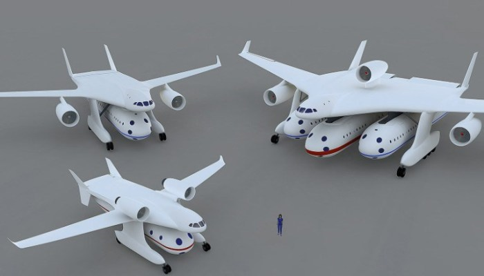 Модификации гондолопланов с разным количеством модулей. /Фото: wikipedia.org