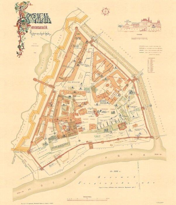 Схема Кремля 17 века - части построек, отмеченных там, уже не существует. /Фото: livejournal.com