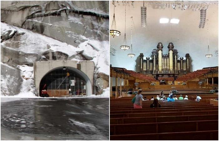 Реликвии церкви Мормонов хранятся внутри горы. /Фото: longnow.org, viaggi-usa.it