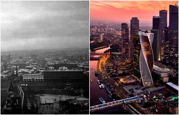 Москва 1910-х и 2010-х как будто два разных города. /Фото: bstatic.com, varlamov.me