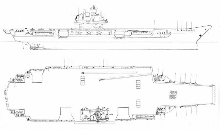 Чертеж авианосца проекта 1143. /Фото: hi-tech.mail.ru