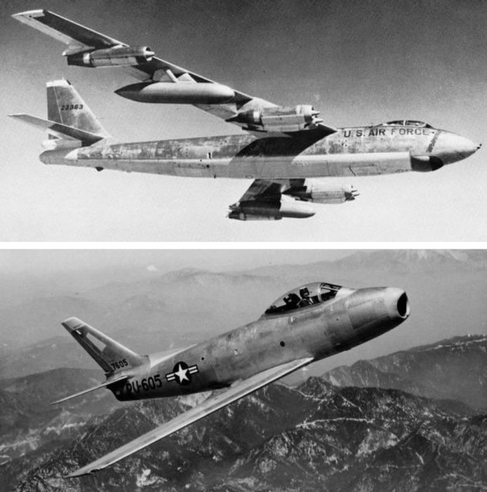 Бомбардировщик В-47 и истребитель F-86. /Фото: chrontime.com
