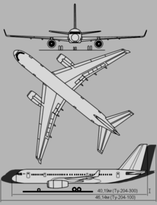 Схема лайнера Ту-204. /Фото: wikipedia.org