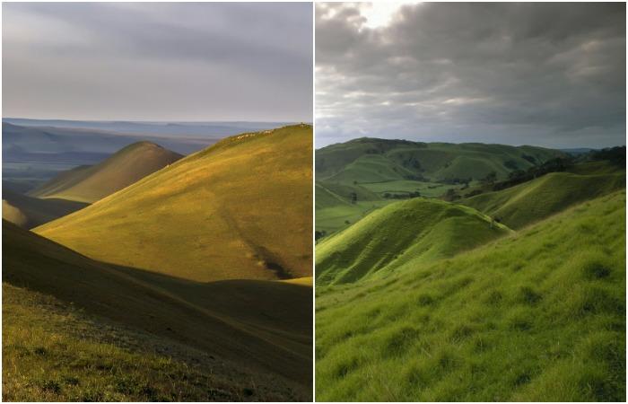 Похожие холмы из разных уголков планеты. /Фото: pikabu.ru, pinterest.ru