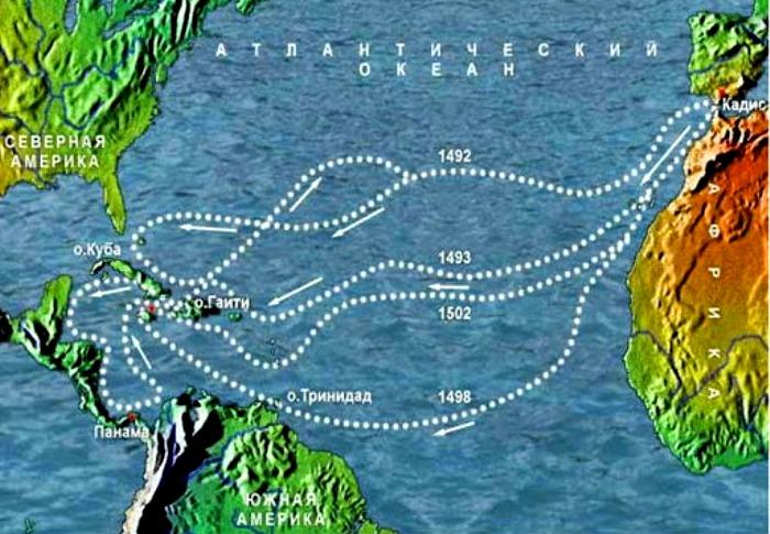 Карта экспедиций Христофора Колумба. /Фото: ya-uznayu.ru