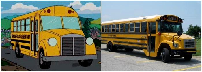 В мультяшном американском городе не может не быть желтого школьного автобуса. /Фото: nocookie.net, usd497.org