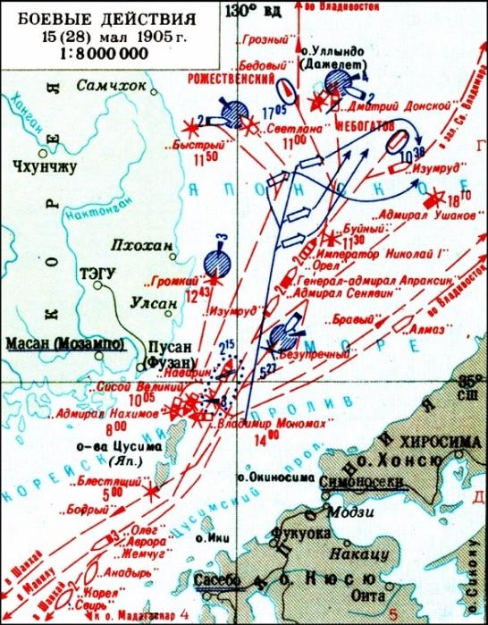 Цусимское сражение 14-15 мая 1905 года. /Фото:stankobiznes.ru