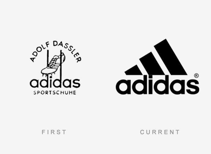 Эволюция логотипа Adidas. /Фото: Pinterest.com