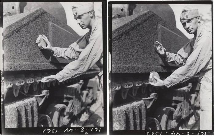 Архивные фото американского солдата с магнитной миной в руках. /Фото: pinterest.com