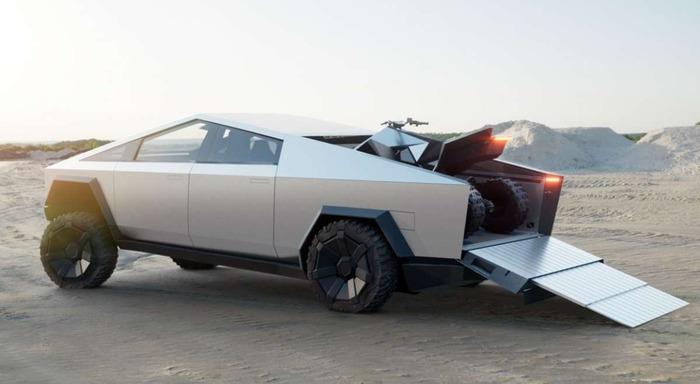 Cybertrack вмещает даже квадроцикл - один из будущих проектов Tesla. /Фото: autocentre.ua