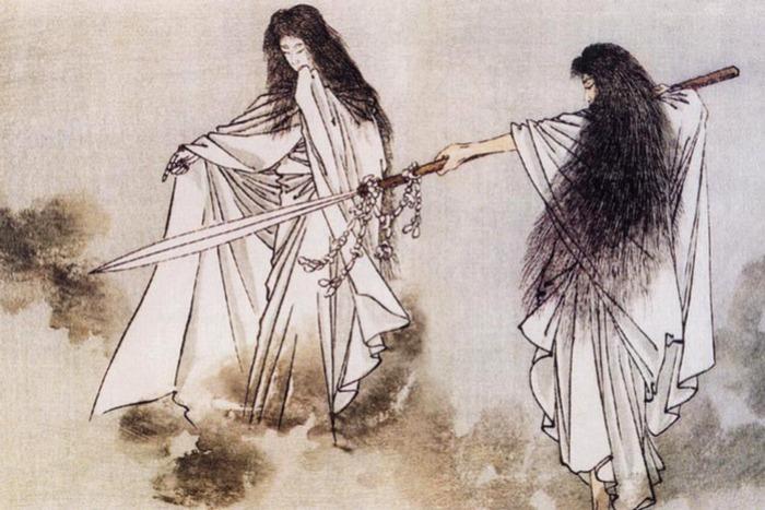 Древняя гравюра с мифологическим сюжетом, где, судя по всему, изображено копье хоко. /Фото: getwar.ru