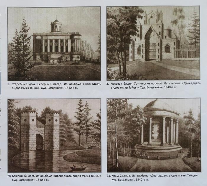 Сохранившиеся изображения сооружений усадебного комплекса. /Фото: institutspb.ru