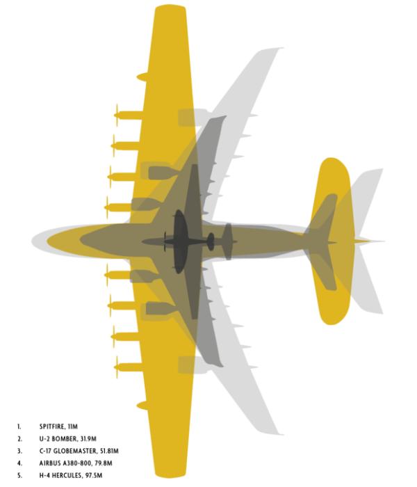 Сравнение размеров Геркулеса с другими рекордсменами по размерам (Н-4 выделен желтым). /Фото: maximonline.ru
