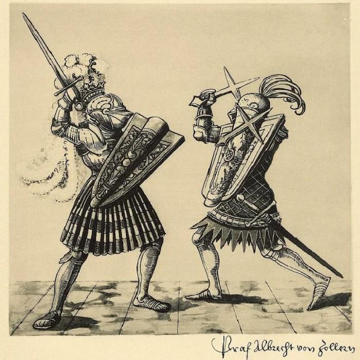 Гравюра с изображением воина, который бьется двумя метательными крестами. /Фото: livejournal.com