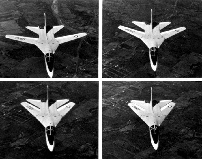 Различные положения крыла изменяемой стреловидности F-111. /Фото: wikipedia.org