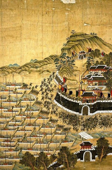 Изображение осады Пусанджина в 1592 году. /Фото: wikipedia.org