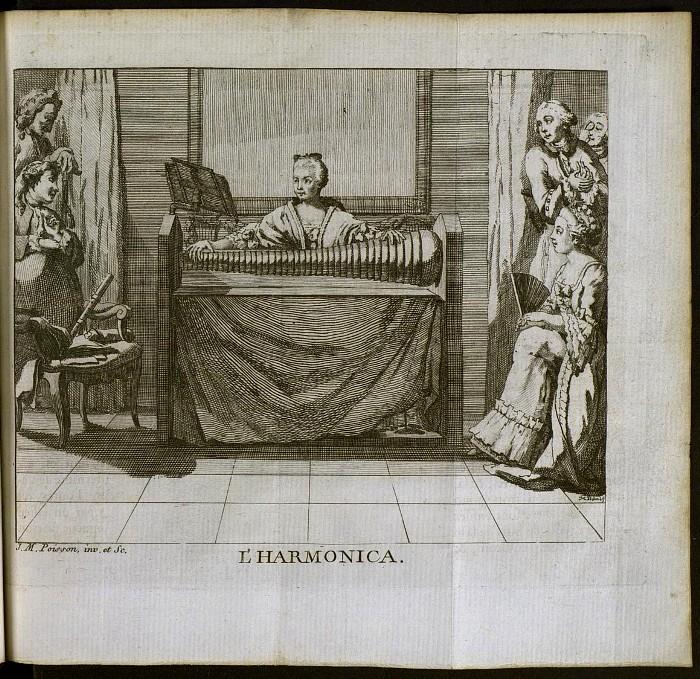 Стеклянная гармоника на старинной французской гравюре. /Фото: expositions.nlr.ru