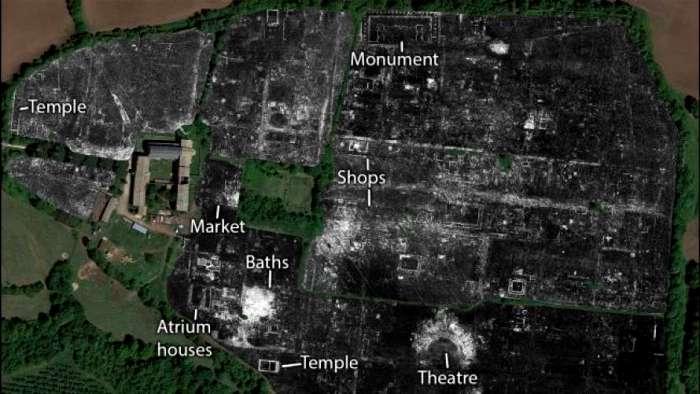 Найденные с помощью новых технологий неизвестные ранее древнеримские здания. /Фото: lenta.ua