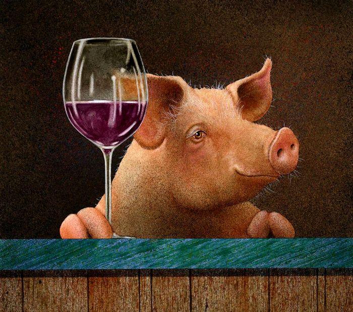 Оказалось, что в одной фразе можно совместить алкоголь и поросят. /Фото: pinterest.de