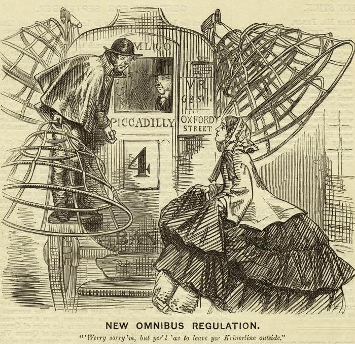 «Извините, но кринолин придется оставить снаружи». /Фото: historiasdelahistoria.com