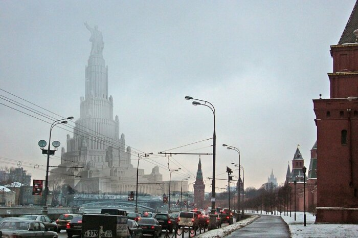 Арт-концепт нереализованного проекта Дворца Советов. /Фото: way2day.com