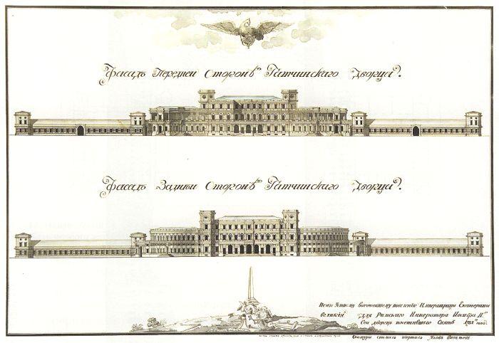 Фасады дворца. Оригинальные чертежи 1781 года. /Фото: wikipedia.org