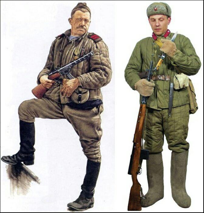 Сегодня сложно представить красноармейцев зимой без ватной телогрейки. /Фото: fishki.net