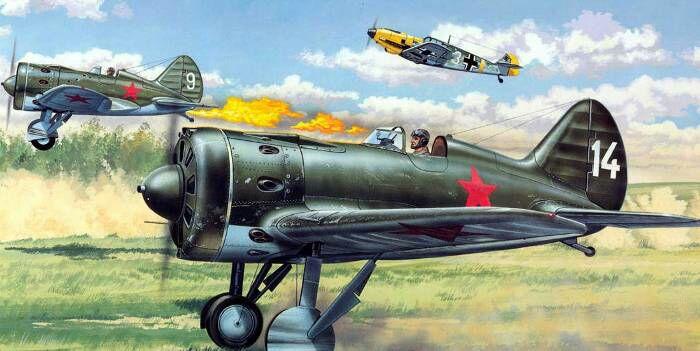 Истребители пытаются взлететь под огнём немецкого Мессера. /Фото: aviaskins.com