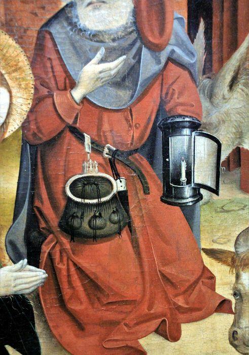 Металлический светильник на средневековой картине. /Фото: pinterest.com