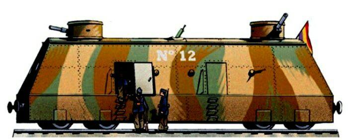 Рисунок артиллерийского вагона бронепоезда 12. /Фото: naukatehnika.com