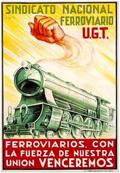 Плакат профсоюза железнодорожников времён Гражданской войны. /Фото: eroj.org