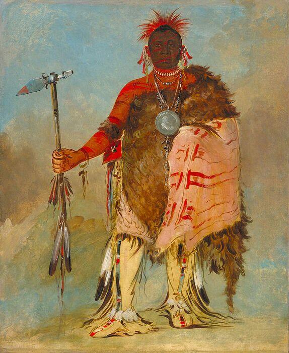 Вождь племени омаха Большой Лось с трубочным томагавком. /Фото: wikipedia.org