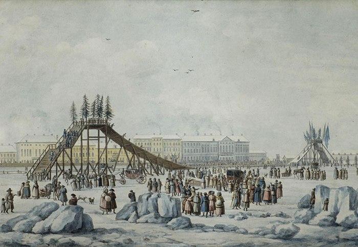Примерно так выглядели первые русские горки, построенные на Неве. /Фото: wp.com