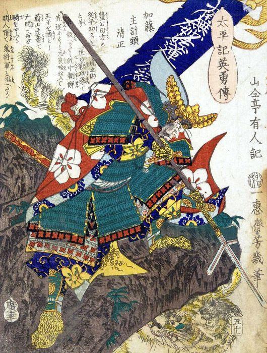 Японский Като Киёмаса полководец с яри. Гравюра 19 века. /Фото: wikipedia.org
