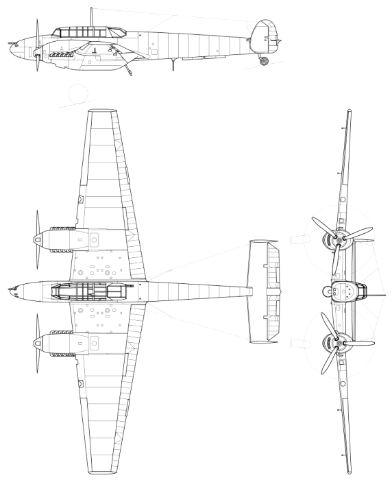 Чертеж первой серийной модели истребителя - Bf-110C. /Фото: wikipedia.org