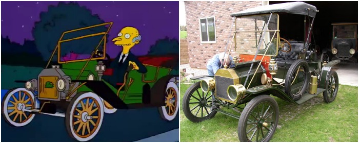 Этой машине из Симпсонов уже больше ста лет. /Фото: sporcle.com, momentcar.com