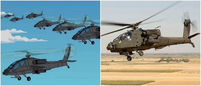 Военная авиация представлена в «Симпсонах» самыми известными моделями. /Фото: simpsons.fandom.com, wikipedia.org