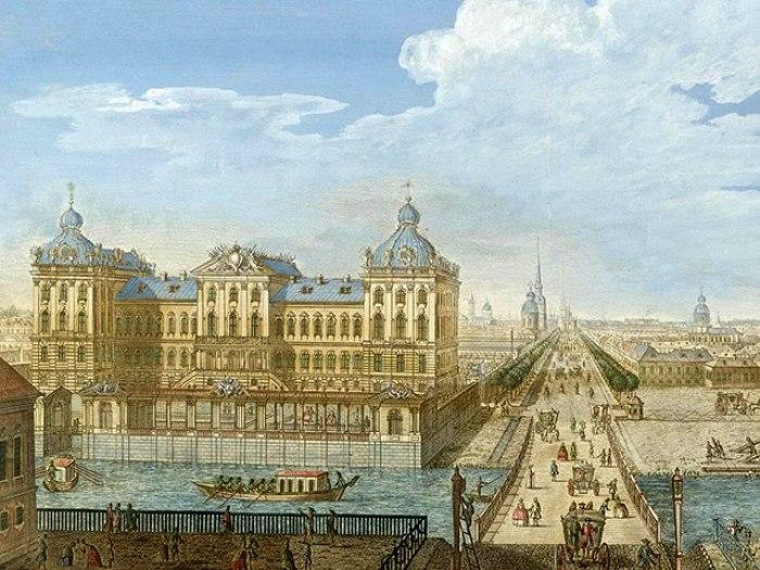 Анчиков дворец с оригинальной отделкой в стиле барокко. Изображение 1753 года. /Фото: hellopiter.ru