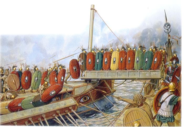 Римляне первыми стали применять тактику абордажа. /Фото: vmflot.ru