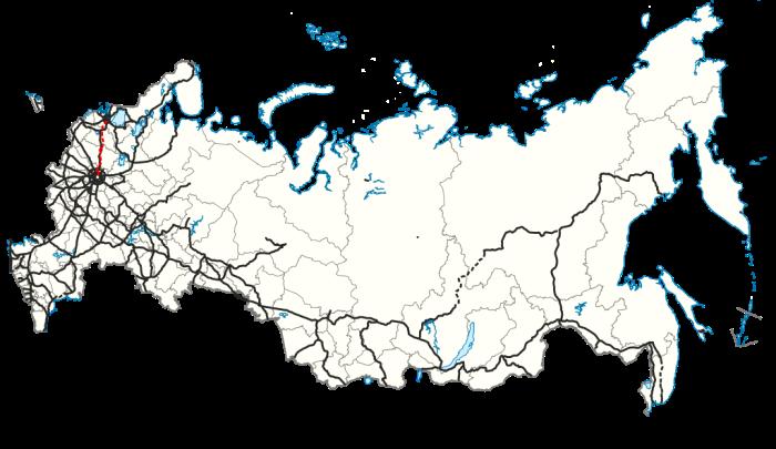 Карта скоростной магистрали между официальной и северной столицами. /Фото: wikipedia.org