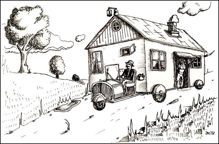 Перенос дома с место на место сегодня - это норма. /Фото: moya-planeta.ru