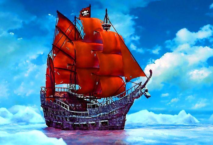 Бывший испанский фрегат, ставший пиратским флагманом. /Фото: angelle84.centerblog.net