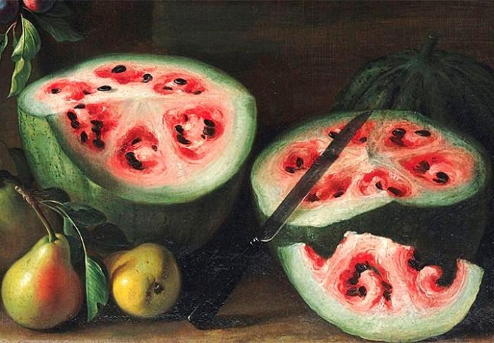 Эпизод из картины «Натюрморт с арбузами, персиками, грушами и другими фруктами», около 1645–1672 /Фото: daily.afisha.ru