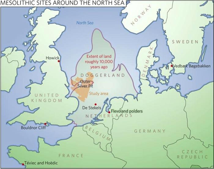 Предположительный вид Доггерленда на карте Европы. /Фото: naturalishistoria.files.wordpress.com