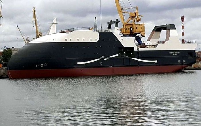 Головное судно «Капитан Соколов», спущенное на воды Невы. /Фото: mvestnik.ru