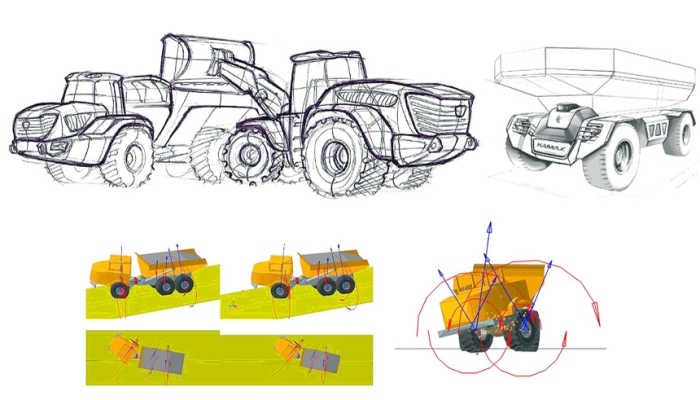 Сверху - эскиз грузовика 4х4 (слева) и его беспилотной модификации (справа). /Фото: autoreview.ru