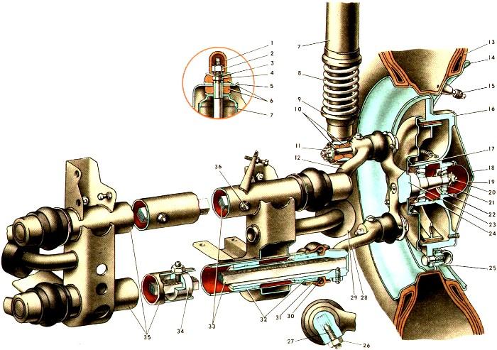 Конструкция передней подвески ЗАЗ-968М. /Фото: demertim.ru