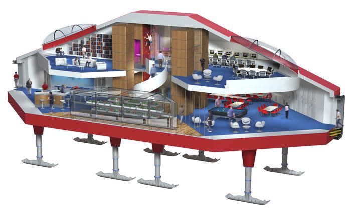 Компьютерная модель внутренних помещений центрального блока станции. /Фото: discoveringantarctica.org.uk