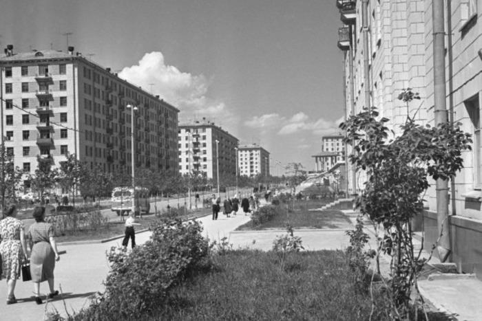1-я улица Строителей в Юго-Западном районе Москвы, 1959 год - застройка домами серии СМ и II-08. /Фото: rbk.ru