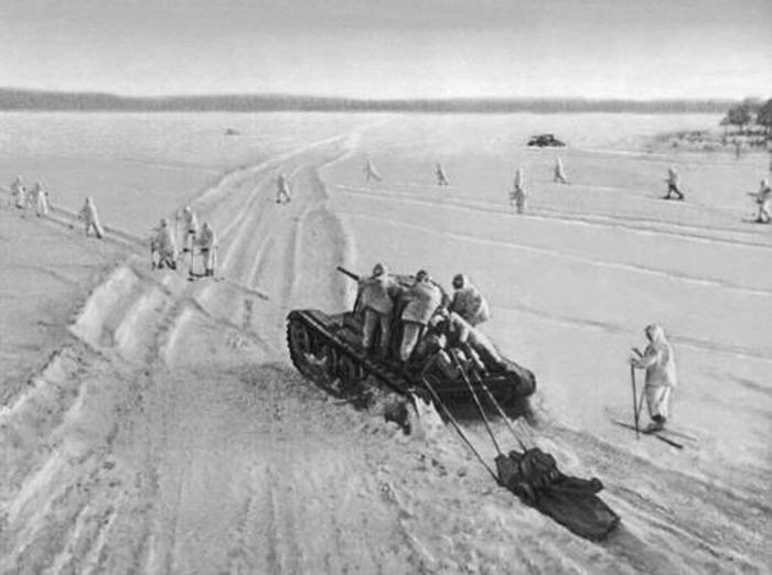 Советские лыжные бригады на подступах к Москве, декабрь 1940 года. /Фото: academic.ru